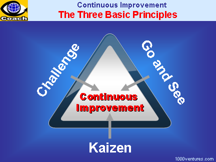 3 Basic Principles of Continous Improvement: Kaizen, Challenge, Go and See