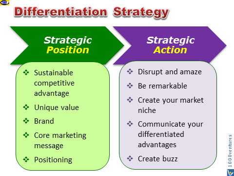 Differentiation Strategy - strategic position, brand, positioning, strategic action, market niche, remarkability