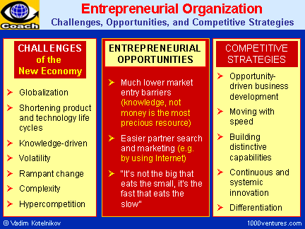 ENTREPRENEURIAL ORGANIZATION: Challenges, Opportunities, and Competitive Strategies