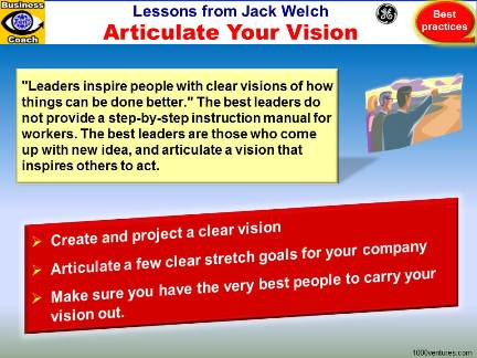 Vision, Leadership Lessons from Jack Welch: ARTICULATE YOUR VISION. How To Be a Great Leader