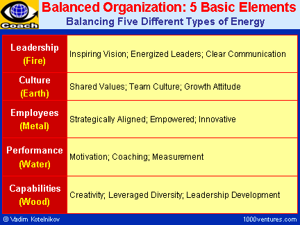 Balanced Organization: 5 Basic Elements - Leadership, Culture, Employees, Performance, Capabilities