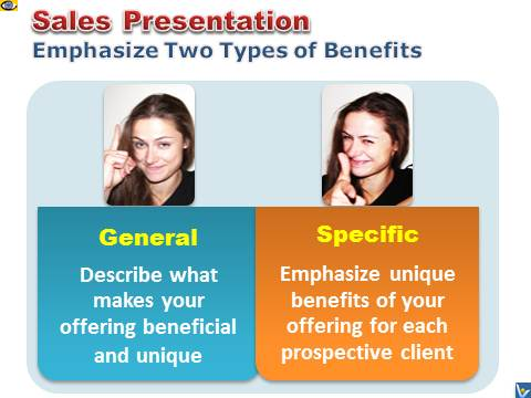 Sales Presentation: How To Make and Sell Benefits General and Specific