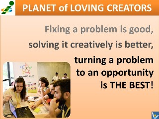 Problem solving strategies turn problems to opportunities Vadim Kotelnikov quotes Innompic Games Planet of Loving Creators