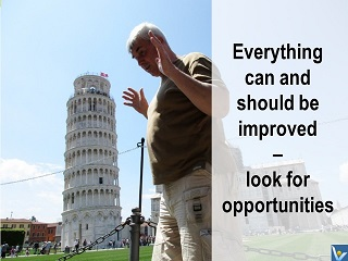 Kaizen quotes, Vadim Kotelnikov - continuous improvement mindset, Pisa tower, photogram